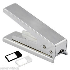 Micro Mini SIM CARD CUTTER PER IPHONE 4G & IPAD + 2 Adattatori convertitori TRIMMER