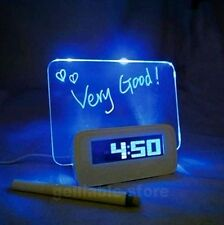 Blue Romantic LED Lights Luminous Fluorescent Message Board Digital Alarm Clock