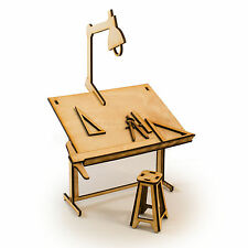 Crafts - Drafting Table - Raw Wood Art Kit Architect Gift