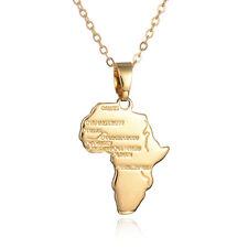 18K oro placcato Uomini Donne Piccola Mappa Africa CIONDOLO con collana catena UK Venditore