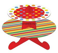 1 x Multi RAINBOW  2 Tier Cardboard Cake Stand Fit 15 Cupcake Flat Pack Frozen
