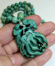 RARE Old Chinese UNTREATED Turquoise Carved Bead Pendant Orchid Flower Necklace