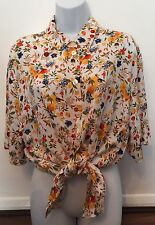 Vintage Blue Yellow Red Floral Print Tied White Shirt Blouse Tunic Dress Grunge