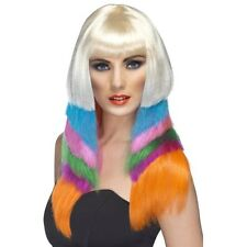 Womens Neon Starlet Wig Hen Fancy Dress Multicoloured 90's Punk Pop Rock Blonde