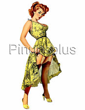 Retro Pinup Girl Guitar & more Waterslide Decal Sexy Garters & Stockings S17