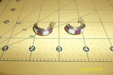 VINTAGE OLD PAWN NAVAJO STERLING purple , opel  HUGGIE HOOP EARRINGS