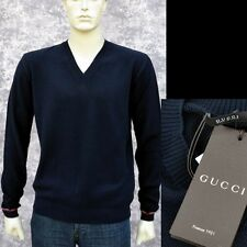GUCCI New sz M Mens Authentic Cotton Designer Web V-Neck Navy Blue Sweater