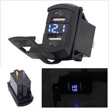 Dual USB Car Boat Socket Rocker Switch Panel with Voltage Voltmeter Blue 12V