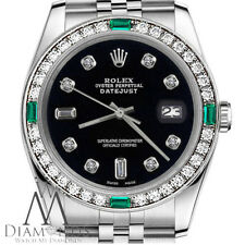 Women's Rolex 31mmDatejust Black Color Dial with 8+2 Emerald Diamond AccentWatch