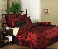 Comforter Set Bedroom Bedding 7 Piece King Size Bed Red and Black New Luxurious
