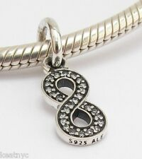 MY INFINITY SYMBOL CHARM Clear CZ Sterling Silver.925 For European Bracelet 883