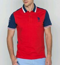 U.S. Polo Assn.  Polo Shirt Red Blue sz L BNWT