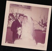 Vintage Photograph Wedding Beautiful Bride and Groom Standing By Flowers