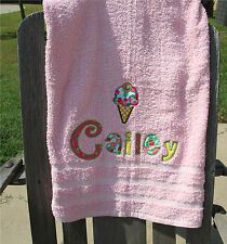 Personalized Embroidered Ice Cream Cherry Applique Letters on Colored Bath Towel