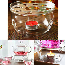 Clear Glass Heat-Resisting Round Teapot Warmer Insulation Base Candle Holder
