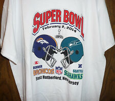SUPERBOWL XLVIII 2014 XL BOTH TEAMS T SHIRT GILDAN WHITE AS IS