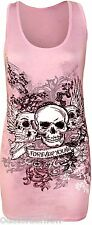 WOMENS LADIES FOREVER YOUNG SKULL WINGS PRINTED T SHIRT MUSCLEBACK VEST TOP 8-14