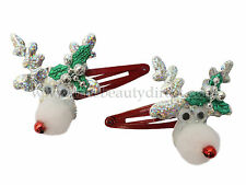 XMAS REINDEERS PACK OF 2 CHRISTMAS HAIRSLIDES HAIRCLIPS GOOGLY EYES POM POMS NEW