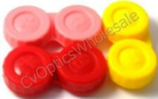 3x Contact Lens Soaking Storage Case Red/Pink/Yellow