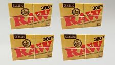 4 Packs RAW 300's Natural Unrefined Classic Cigarette Rolling Paper 1 1/4 Size