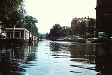 AMSTERDAM CANAL , HOUSEBOATS  1957 35MM SLIDE RED BORDER