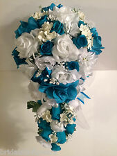 Malibu Turquoise White Silk Flower Wedding Bridal Bouquet Cascade 2pc