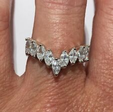 Chevron Marquis Cut 9 Stone CZ SOLID 925 Sterling Silver Ring Sz 6