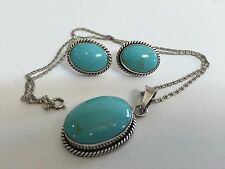 Mexico 925 Sterling Silver Genuine Turquoise Nacklace & Earring Set