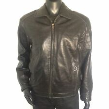 Roundtree & Yorke Mens Genuine Lambskin Black Leather Bomber Jacket Size Medium