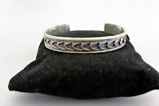 """7.4"""" DARIN BILL signed CUFF BRACELET Navajo Sterling Silver with Great Stamping!"""