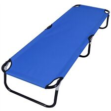 Outdoor Foldable Camping Bed Portable Military Cot Sleeping Hiking Travel Blue
