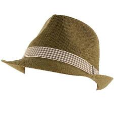 Unisex Summer Classic Fedora Trilby Checkered Plaid Hatband Hat Cap Brown 57cm