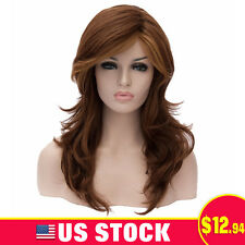 Brown Natural Women fluffy Curly wave Costume Cosplay Anime Wig Hair Long Wigs