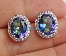 18K White Gold Filled - Blue Oval MYSTICAL Rainbow Topaz Pageant Earrings 04