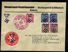 1938 Kamnitz Germany Sudetenland Provisional Cover to Dresen Overprint Stamps