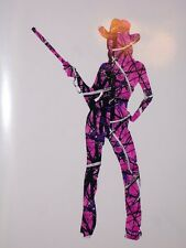 DARK PINK CAMO Cow girl Country SILHOUETTE Woman Window DECAL Muddy Truck