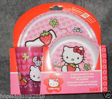 HELLO KITTY 3 PC MEALTIME SET Plate Cup Bowl ~ NIP