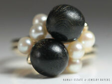 MING'S HAWAII BLACK CORAL & PEARL CLUSTER RING 14K YELLOW GOLD (SZ 6.75) MINGS