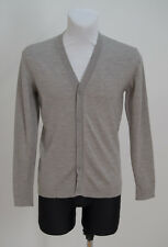 MENS CARDIGAN JUMPER SWEATER 100 % MERINO WOOL GREY SIZE S SMALL EXCELLENT