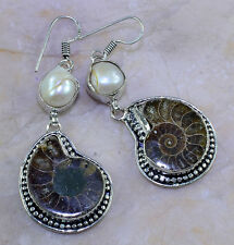 """FREE SHIPPING AMMONITE FOSSIL+RIVER PEARL EARRINGS 2 1/2""""; K32248"""