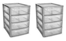 Set of 2 Plastic Storage 4 Drawer Tower Unit Clear Drawers Stationery TML1400