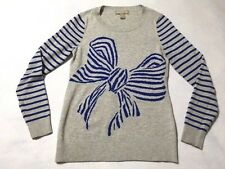 Banana Republic XS Heather Gray Blue Stripe Bow Graphic Sweater Wool Blend