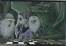 Ed Gedrose Fantasy Art Greeting Card The Game Wizard's Chess Dragon
