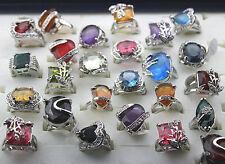 Wholesale Lots 12pcs Big Colorful Crystal Rhinestone CZ Sliver P Nice Lady Ring