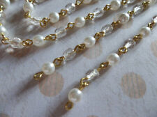 Alternating Crystal Clear & White Pearl 4mm Glass on Gold Bead Chain - Qty 18""