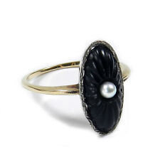 Art Deco Ring 585 Gold mit  Onyx & Perle Antik um 1920
