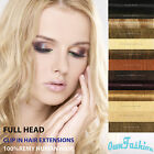 Full Head 100% Straight Remy Quality Human Clip In Hair Extensions &Highlight