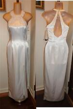 JESSICA McCLINTOCK White Satin Fitted Beaded Trim Wedding Formal Dress Gown 3/4