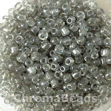50g glass seed beads - Grey Transparent Lustered - approx 4mm (size 6/0)