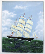 ENAMEL ON COPPER PAINTING CLIPPER SHIP SIGNED LUCEY